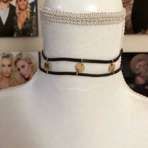 Leather gold coin choker necklace brand new